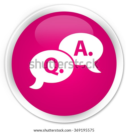 Question answer bubble icon pink glossy round button - stock photo