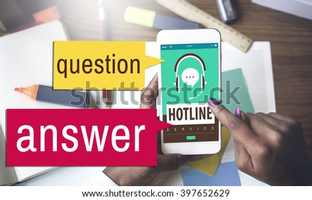 Question Answer Hotline Call Center Concept - stock photo