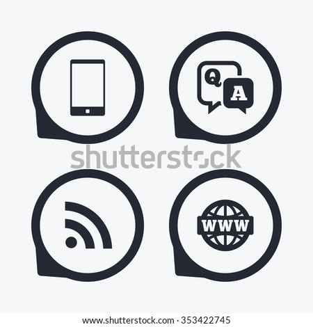 Question answer icon. Smartphone and Q&A chat speech bubble symbols. RSS feed and internet globe signs. Communication Flat icon pointers. - stock photo