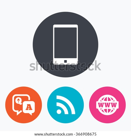 Question answer icon. Smartphone and Q&A chat speech bubble symbols. RSS feed and internet globe signs. Communication Circle flat buttons with icon. - stock photo