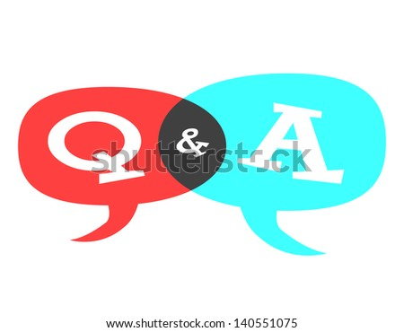 Question & Answer Speech Bubble - stock photo