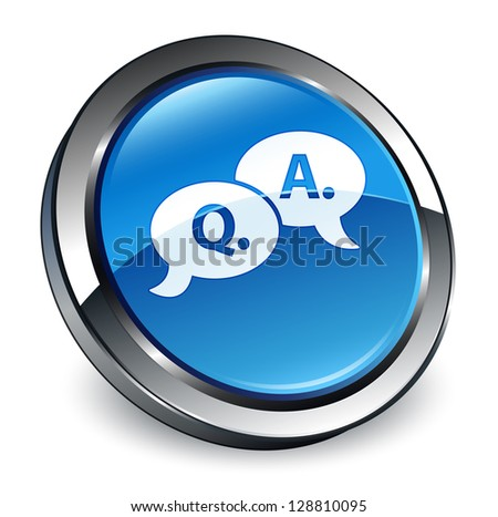 Question Answer (talking) icon 3d blue button - stock photo