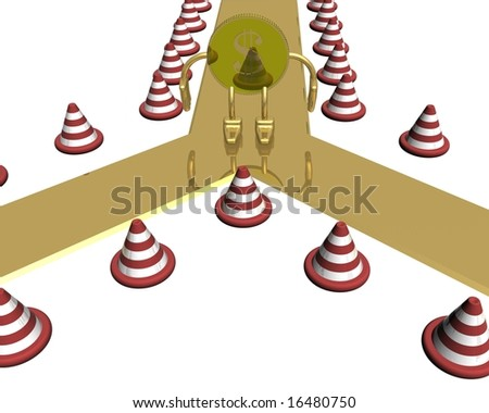 Question at a choice of a direction. 3D image. - stock photo