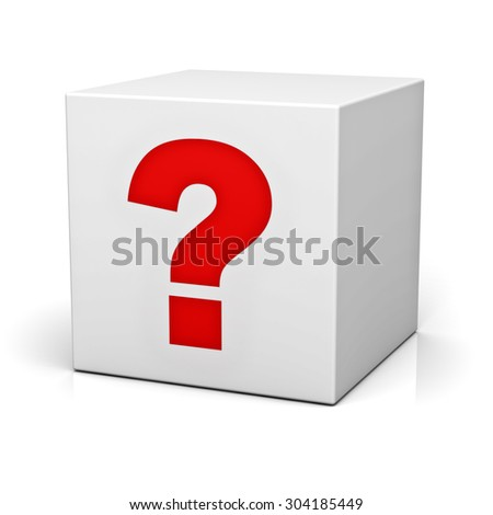 Question box isolated over white background with reflection - stock photo