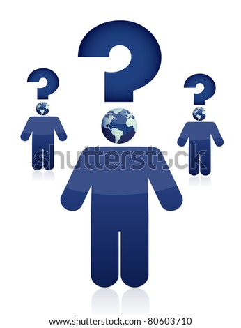 Question concept illustration design of a white background - stock photo