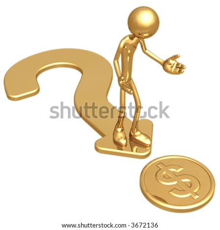 Question Direction Gold Dollar Coin - stock photo