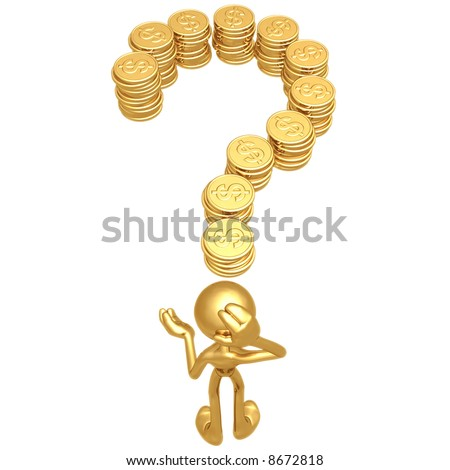 Question Gold Dollar Coins - stock photo