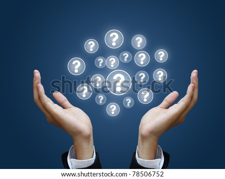 Question in business hand - stock photo