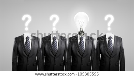 question mark and a head lamp - stock photo