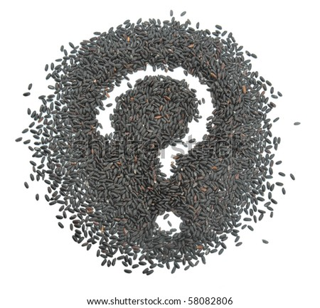 Question mark and black rice - stock photo