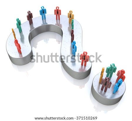 Question Mark and colorful 3d people in the design of information related to the solution of the problem - stock photo