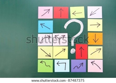 Question mark and colorful paper with different direction. - stock photo