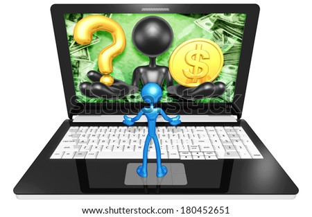 Question Mark And Gold Coin On Laptop - stock photo