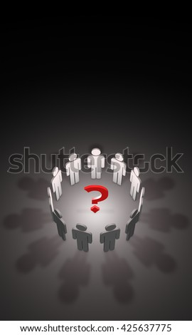 Question mark and gray figures. Available in high-resolution and several sizes to fit the needs of your project. Artistic dark background. 3D illustration