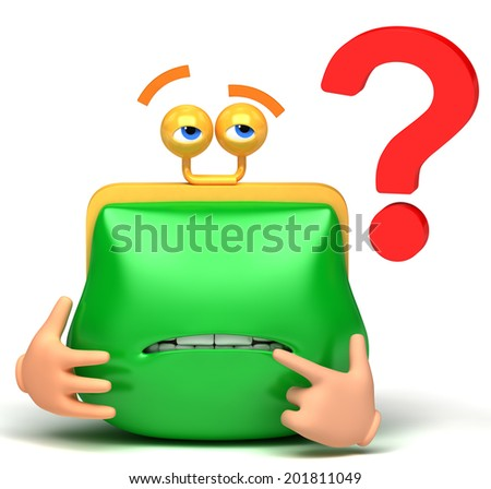 question mark and purse - stock photo