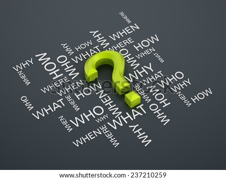 Question mark and question words on gray surface. - stock photo
