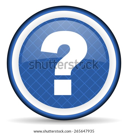 question mark blue icon ask sign  - stock photo