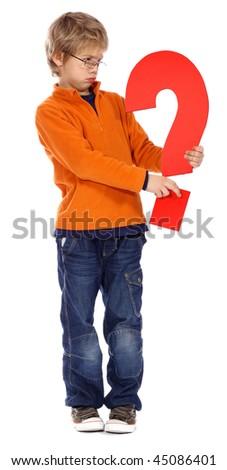 Question mark boy - The Alphabet Series - stock photo