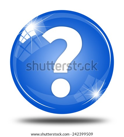 Question mark button isolated - stock photo