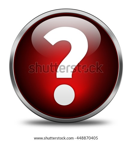 Question mark button isolated on white background. 3d render - stock photo