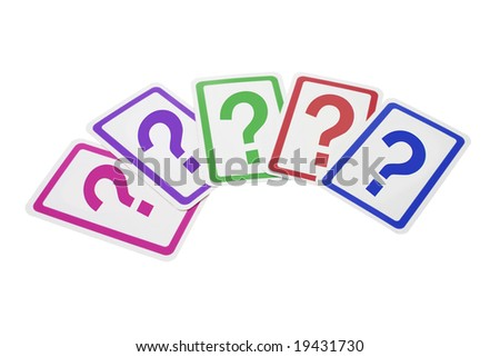Question Mark Cards on Isolated White Background - stock photo