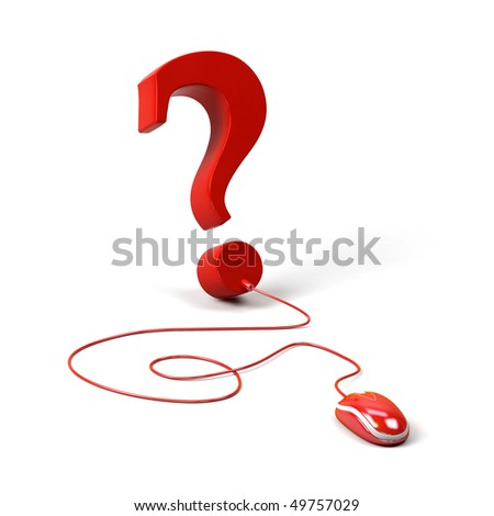 Question mark connected to a computer mouse. 3d image