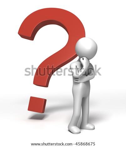 Question Mark Contemplation - stock photo