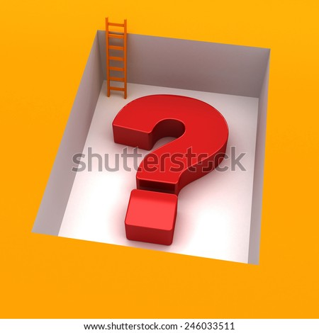 question mark 3d with downstairs - stock photo