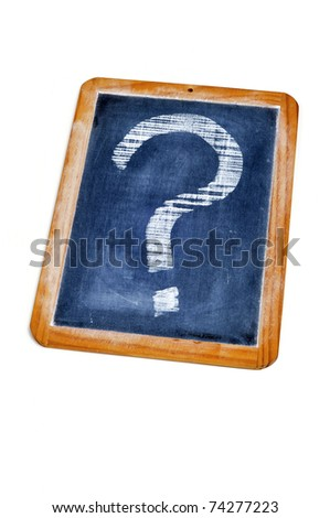 question mark drawn with a chalk on a blackboard - stock photo