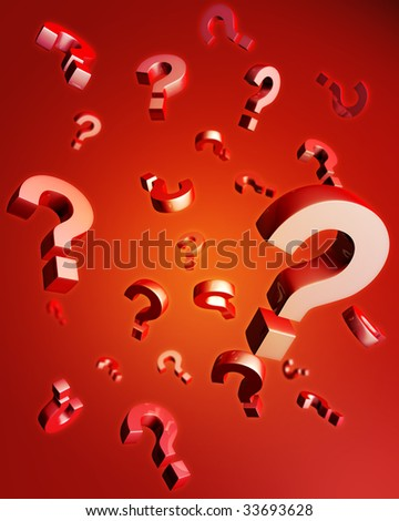 Question mark falling with reflection 3d illustration - stock photo