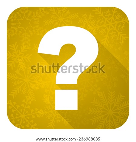 question mark flat icon, gold christmas button, ask sign  - stock photo