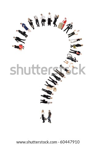 Question Mark Formed by Humans isolated on white Background - stock photo