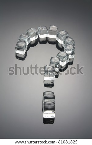 Question Mark Formed by Ice Cubes with Reflection - stock photo