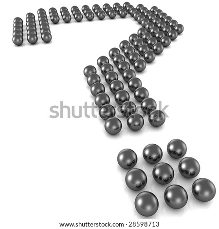 question mark formed by sphere isolated 3d illustration - stock photo