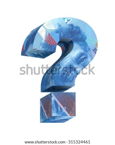 Question mark from swiss franc bill alphabet set isolated over white. Computer generated 3D photo rendering. - stock photo