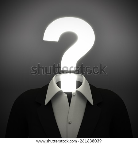 Question mark head. A person has a head that is a question mark, representing doubts and questions.