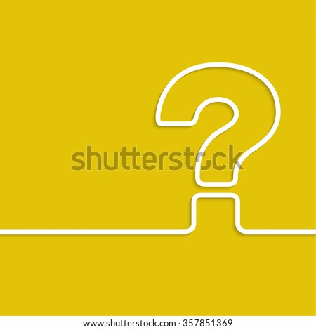 Question mark icon. Help symbol. FAQ sign on a yellow background. Line art.