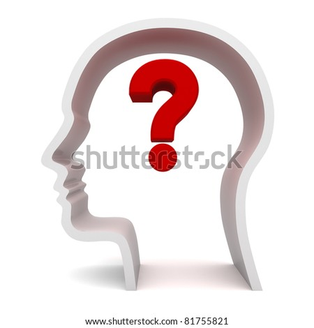 Question Mark In Head - stock photo