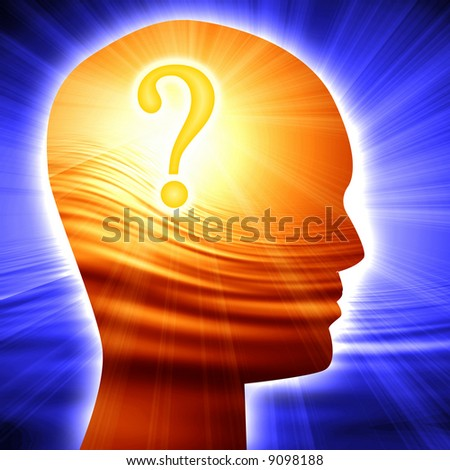 Question mark in human head