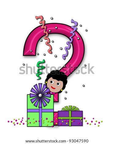 """Question Mark, in the alphabet set """"Birthday Letters"""", is surrounded by colorfully wrapped presents complete with bows.  Woman hides behind presents and peeks out pretending surprise. - stock photo"""