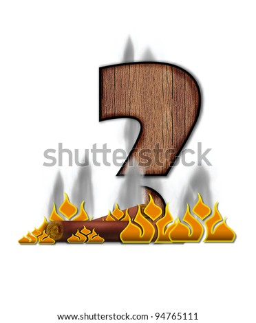 Question Mark, in the alphabet set Burning, is created to look like a piece of lumber surrounded by flames and smoke. Wood grained letter is outlined in black.