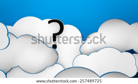 Question mark in the clouds blue heaven background 3d - stock photo