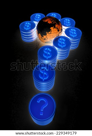 Question mark in the form of coins with dollar sign on a black background - stock photo