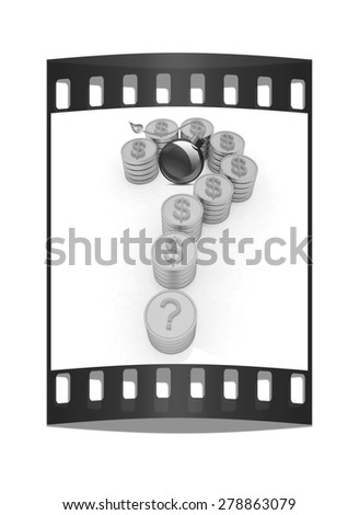 Question mark in the form of gold coins with dollar sign and black bomb burning on a white background. The film strip - stock photo