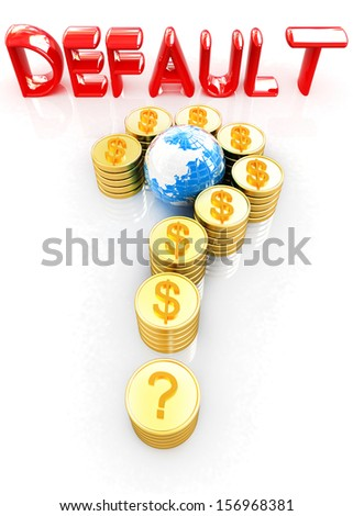 Question mark in the form of gold coins with dollar sign on a white background - stock photo