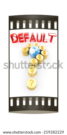 Question mark in the form of gold coins with dollar sign on a white background. The film strip - stock photo
