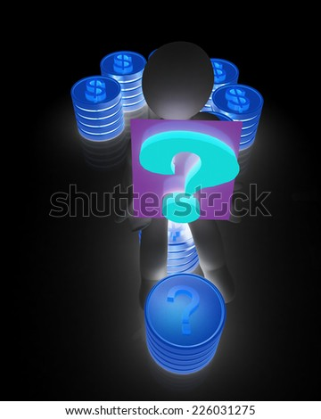Question mark in the form of gold coins with dollar sign with 3d man on a black background - stock photo