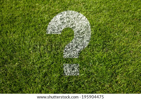 question mark in white on meadow - stock photo