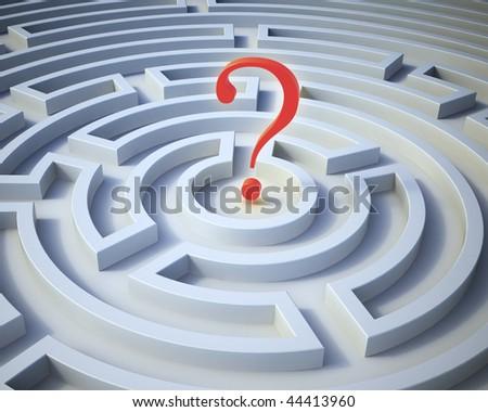 Question mark inside a maze - stock photo