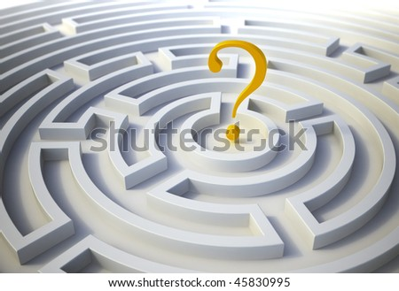 Question mark inside a maze - stock photo